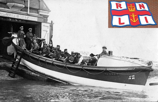 lr Launching lifeboat Poole